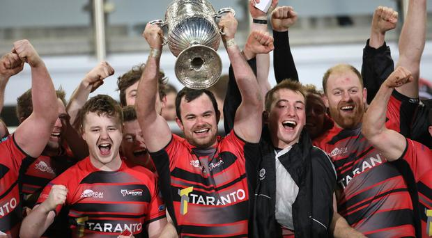City of Armagh Rugby team celebrate after winning the Ulster Senior Cup final at Ravenhill after defeating Ballymena. Pic by Peter Morrison