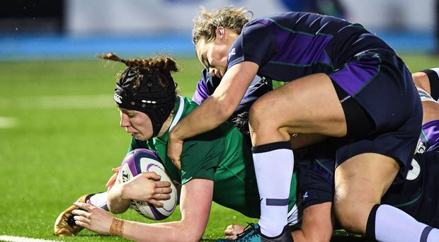 Touchdown: Ireland's Aoife McDermott scores a try in their win over Scotland