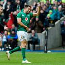Ireland's Conor Murray celebrates scoring his side's first try of the game at Murrayfield.