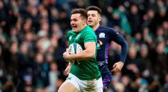 Scots slayed: Jacob Stockdale (pictured) and Keith Earls scored tries in the win over Scotland, much to the relief of coach Joe Schmidt