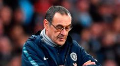 Time running out: under pressure Maurizio Sarri at the Etihad yesterday