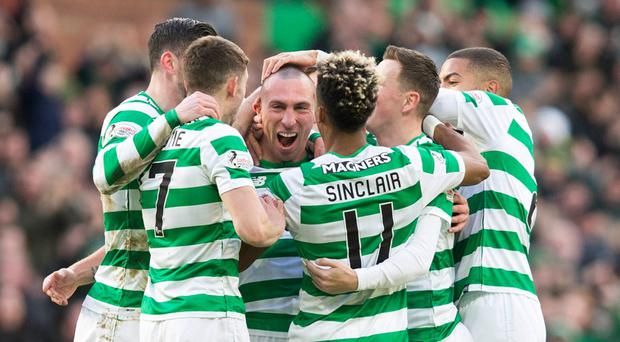 Celtic's Scott Brown celebrates netting his first goal for the club since February 2017.