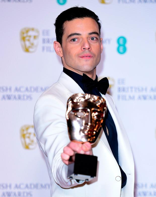 Rami Malek with his Best Actor in a Leading Role for Bohemian Rhapsody in the press room at the 72nd British Academy Film Awards held at the Royal Albert Hall, Kensington Gore, Kensington, London. PRESS ASSOCIATION Photo. Picture date: Sunday February 10, 2019. See PA story SHOWBIZ Bafta. Photo credit should read: Ian West/PA Wire