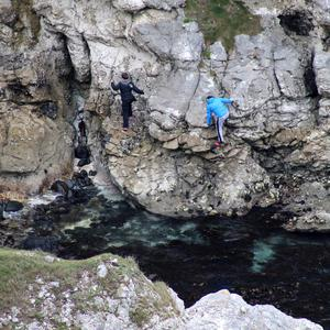 Youths scaling cliffs at Kinbane Near Ballycastle. Pic Kevin McAuley/McAuley Multimedia