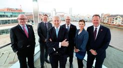 Kingsley Aikins (centre) with (from left) Stephen Felle, Davy Private Clients UK; Neil Gibson, EY chief economist; Alan Werlau, Davy; journalist and presenter Naomi McMullan; and Stephen Warke, Davy