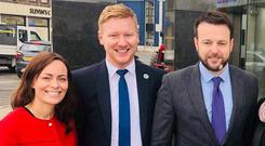 SDLP MLA Daniel McCrossan with SDLP leader Colum Eastwood and deputy leader Nichola Mallon.