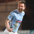 Drought over: Jim Ervin hails his goal against Portadown, his first in three and a half years