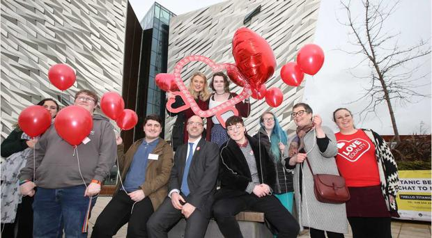 A group of Northern Ireland students gathered on Valentine's Day.