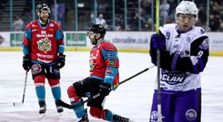 Press Eye - Belfast - Northern Ireland - 14th February 2019 - Photo by William Cherry/Presseye Belfast Giants' Blair Riley celebrates scoring against the Glasgow Clan during Thursday nights Challenge Cup Semi Final 2nd Leg game at the SSE Arena, Belfast. Photo by William Cherry/Presseye