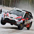 Full throttle: Kris Meeke in Rally Sweden yesterday