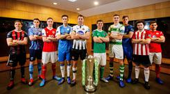 Here we go: Bohemians' Keith Buckley, UCD's Gary O'Neill, St. Patrick's Athletic's Ian Birmingham, Finn Harps' Sam Verdon, Dundalk's Brian Gartland, Cork's Colm Horgan, Shamrock Rovers' Sean Boyd, Waterford's Matthew Connor, Derry's Barry McNamee and Ronan Murray of Sligo at the launch of the Airtricity Premier League