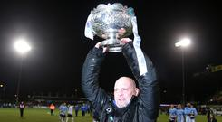 Prize guy: David Jeffrey lifts the League Cup in 2017