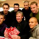 Much respected: Eric Harrison with members of the 'Class of 92', (from left) Phil Neville, Gary Neville, Ryan Giggs, David Beckham, Nicky Butt and Wes Brown