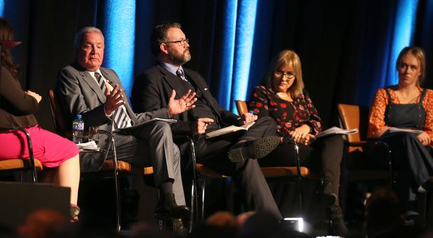 A discussion panel at the Beyond Brexit: The Future of Ireland conference at the Waterfront Hall in Belfast on January 26