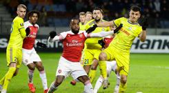 Red mist: Alexandre Lacazette last night before being sent off