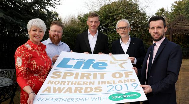 Specsavers Tony McGinn and Sean McCauley with Martin Breen, Pamela Ballantine and Marc Mallett launch the 2019 Spirit Of Northern Ireland awards.