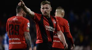 Crusaders' David Cushley scored the goal of the night on a thrilling evening of Irish League action. Photo Colm Lenaghan/Pacemaker Press