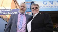 Ruby Murray's son and daughter Tim and Julie Burgess at the unveiling of the blue plaque