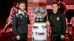 It's a knockout: Ballymena United ace James Knowles and Linfield skipper Jamie Mulgrew hope to get their hands on the BetMcLean League Cup tonight