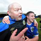 Winning combination: David Jeffrey and Jamie Mulgrew celebrate Linfield's title triumph in 2012 at Windsor Park