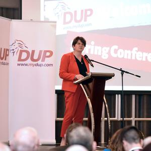 DUP Leader Arlene Foster pictured at the Annual Spring conference held at the Silverbirch Hotel in Omagh . Photo by Stephen Hamilton/Presseye