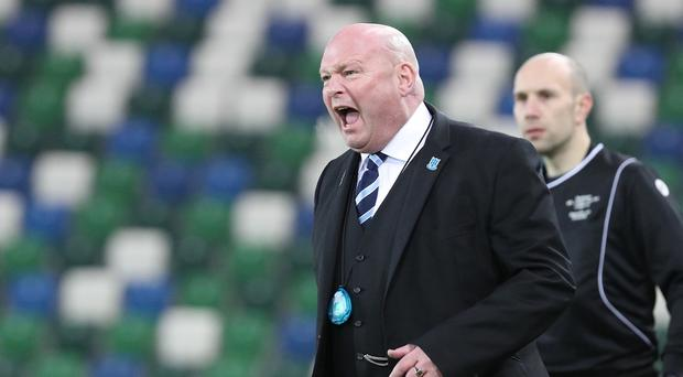 Ballymena's manager David Jeffrey during this evening's game at the National Stadium, Belfast. Photo by David Maginnis/Pacemaker Press