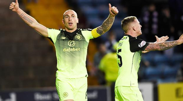 Celtic captain Scott Brown celebrates after he scores his side's first goal of the game during the Ladbrokes Scottish Premiership match at Rugby Park, Kilmarnock. Ian Rutherford/PA Wire.