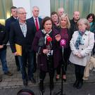 Sinn Fein President Mary Lou McDonald alongside Marian Walsh(front right) whose son was Damien was killed in 1993 was one of the family members who was at the meeting. Picture by Jonathan Porter/PressEye