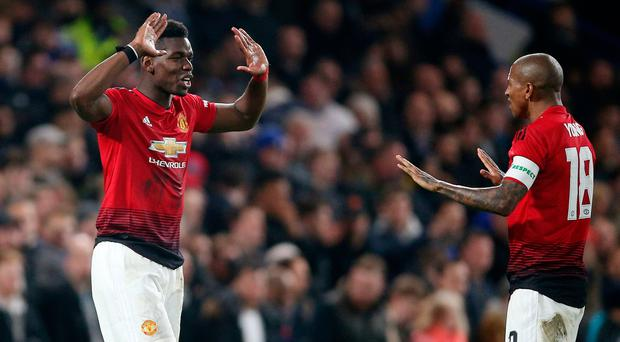 Manchester United's Paul Pogba celebrates scoring his side's second goal