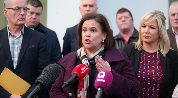 Sinn Fein President Mary Lou McDonald at a press conference in Belfast on Monday. Picture by Jonathan Porter/PressEye