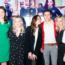 (left to right) Writer Lisa McGee with cast members Nicola Coughlan , Louisa Harland, Dylan Llewellyn and Saoirse-Monica Jackson at the Omniplex Cinema in Londonderry for the Derry Girls premiere ahead of the broadcast of the second series on Channel 4. PRESS ASSOCIATION Photo. Picture date: Monday February 18, 2019. Photo credit should read: Niall Carson/PA Wire