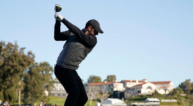 Driving ahead: Rory McIlroy during his final round of the Genesis Open at Riviera