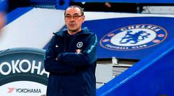 Under fire: Chelsea boss Maurizio Sarri looks set to be axed