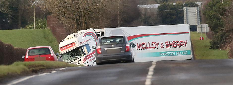 The scene of a serious crash involving a van and a lorry on the main Coleraine to Garvagh road on Wednesday afternoon. The air ambulance attended the scene. Picture Margaret McLaughlin 20-2-2019 ©