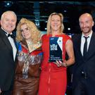Caption – (L-R) Stephen Stewart, Managing Director at Mervyn Stewart is pictured receiving the Škoda UK Retailer of the Year Award from Singer-Songwriter Paloma Faith, accompanied by Karen Bickerstaff, Operations Director at Mervyn Stewart and Rod McLeod.