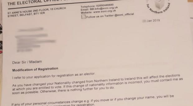 The letter was sent to a Downpatrick man.