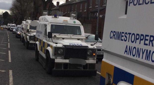 Police carried out a number of searches in north Belfast. Credit: PSNI
