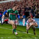 Going over: Ulster ace Louis Ludik bags a try against Benetton at Kingspan Stadium in January