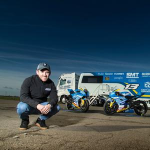 Lee Johnston with his new machinery at the pre season shakedown test at Blyton Park.