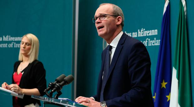 Tanaiste Simon Coveney (right) and Minister of State for European Affairs Helen McEntee at a press conference for an update on the publication of the Withdrawal of the United Kingdom from the European Union (Consequential Provisions) Bill 2019 at Government Buildings in Dublin. Brian Lawless/PA Wire