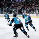 Belfast Giants winger Darcy Murphy celebrates scoring the game winner against the Cardiff Devils