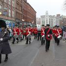 More than 1,000 people took part in a march through Belfast's main shopping area to mark the anniversary of the deaths of two UDR men in a booby-trap bomb. Fred Starrett and James Cummings were killed when an IRA bomb was detonated close to the construction site of what is now the CastleCourt shopping centre in 1988. Pic Declan Roughan Press Eye.