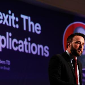 SDLP leader Colum Eastwood speaking at the Fianna Fail annual conference at the Citywest Hotel in Dublin. Pic: Brian Lawless/PA Wire