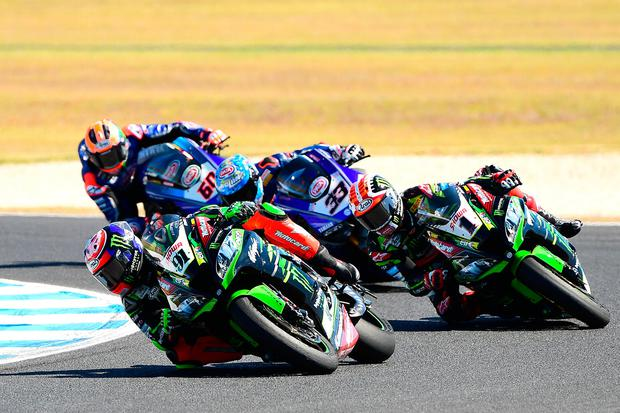 Jonathan Rea had a battle on his hands with new teammate Leon Haslam (Photo by Quinn Rooney/Getty Images)