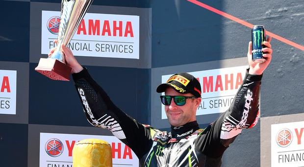 Jonathan Rea celebrates finishing second in Race 3 of the World Superbikes Championships at Phillip Island Grand Prix Circuit on February 24, 2019 in Phillip Island, Australia. (Photo by Quinn Rooney/Getty Images)