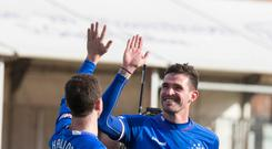 Rangers Kyle Lafferty celebrates with Andy Halliday during the Scottish Premiership match at the Superseal Stadium, Hamilton. Pic: Jeff Holmes/PA Wire.