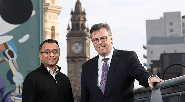 Pictured (L-R) is Raj Ramanand, CEO, Signifyd with Alastair Hamilton, CEO, Invest NI.