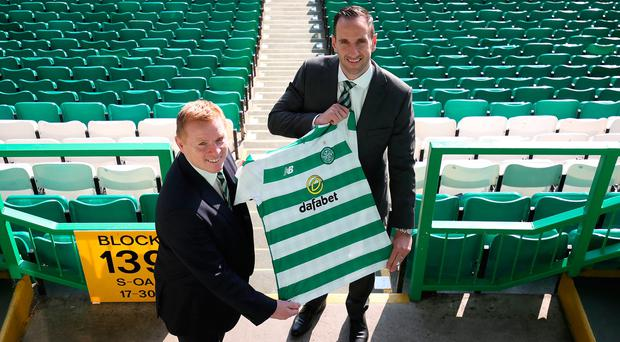 Newly appointed Celtic manager Neil Lennon (left) with assistant John Kennedy following the press conference at Celtic Park, Glasgow. Jane Barlow/PA Wire.