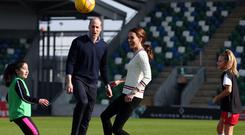 The Duke & Duchess of Cambridge visit the National Stadium Belfast, home of the Irish Football Association. Photo by Kelvin Boyes / Press Eye