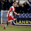 Late show: Chris Casement shows his delight after his late winner gave Linfield victory at Newry on Tuesday night